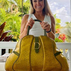 Christian Dior Ostrich Saddle Green Bowler Bag